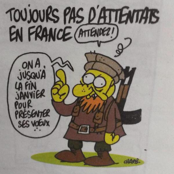 Charb's cartoon in Charlie Hebdo now ghoulishly resonant: (via @AlexHervaud) http://t.co/WbRnPGYLVX