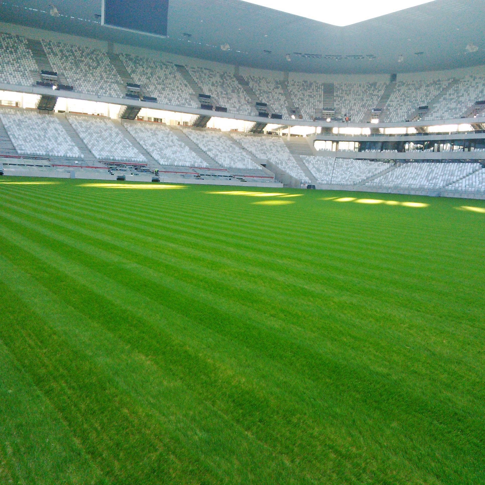 Première tonte pour la pelouse du Nouveau Stade !