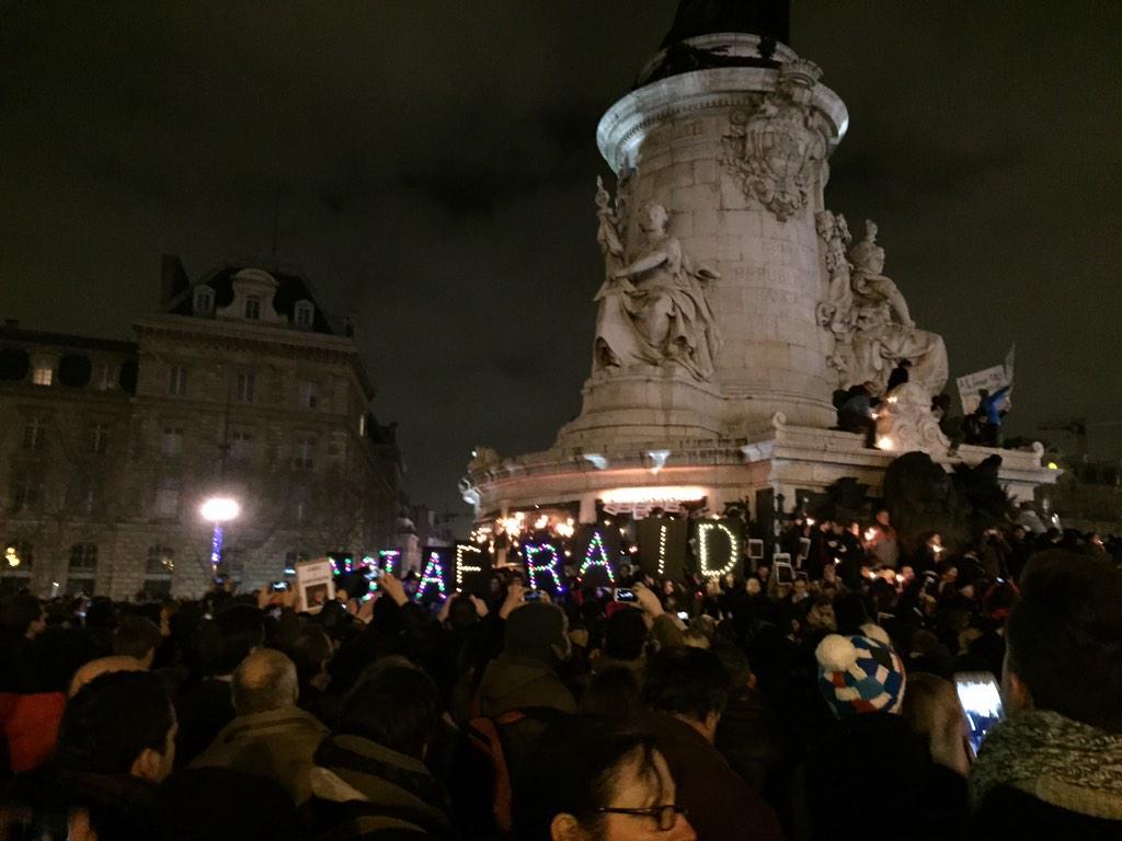 We are not afraid #Republique #JeSuisCharlie http://t.co/3pze6p7vCi