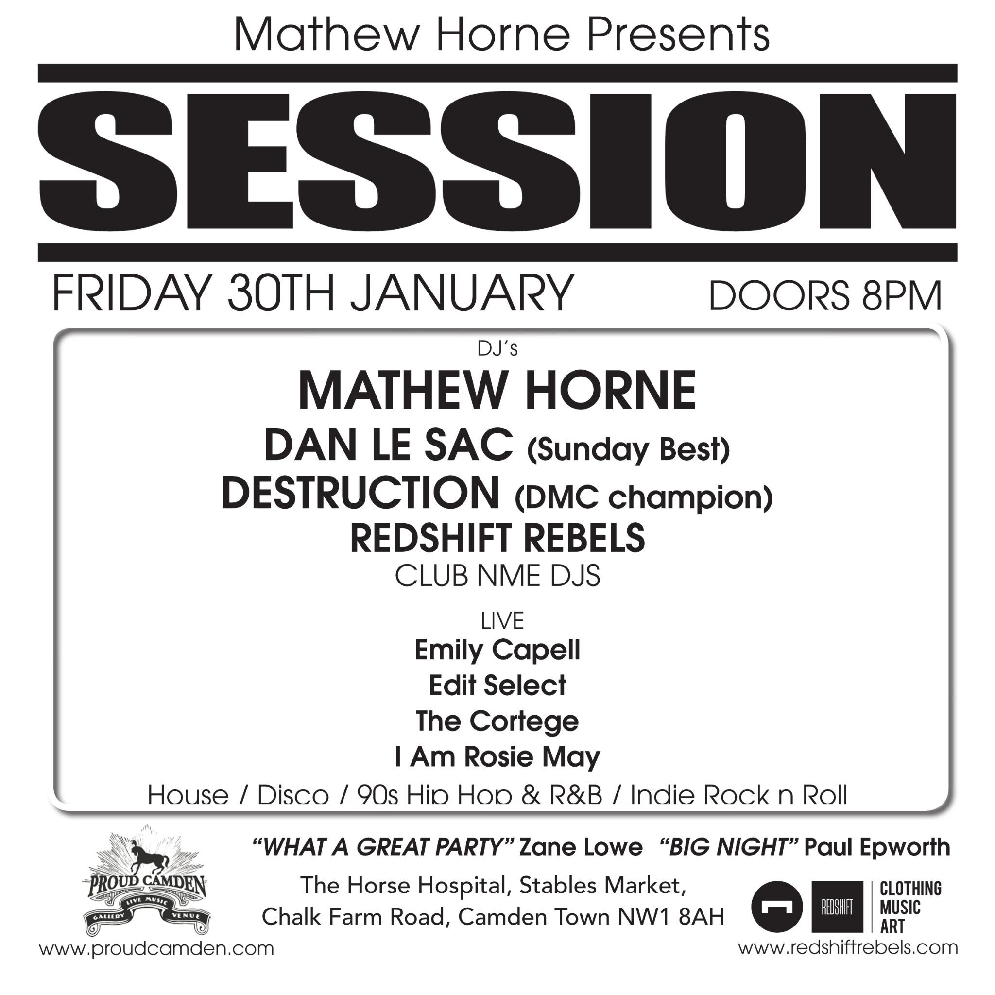 RT @sessionclub: TONITE @mfhorne hosts @sessionclub at @ProudCamden wiv @danlesac  @emilycapell @editselect @thecortegeuk http://t.co/YY3wm…