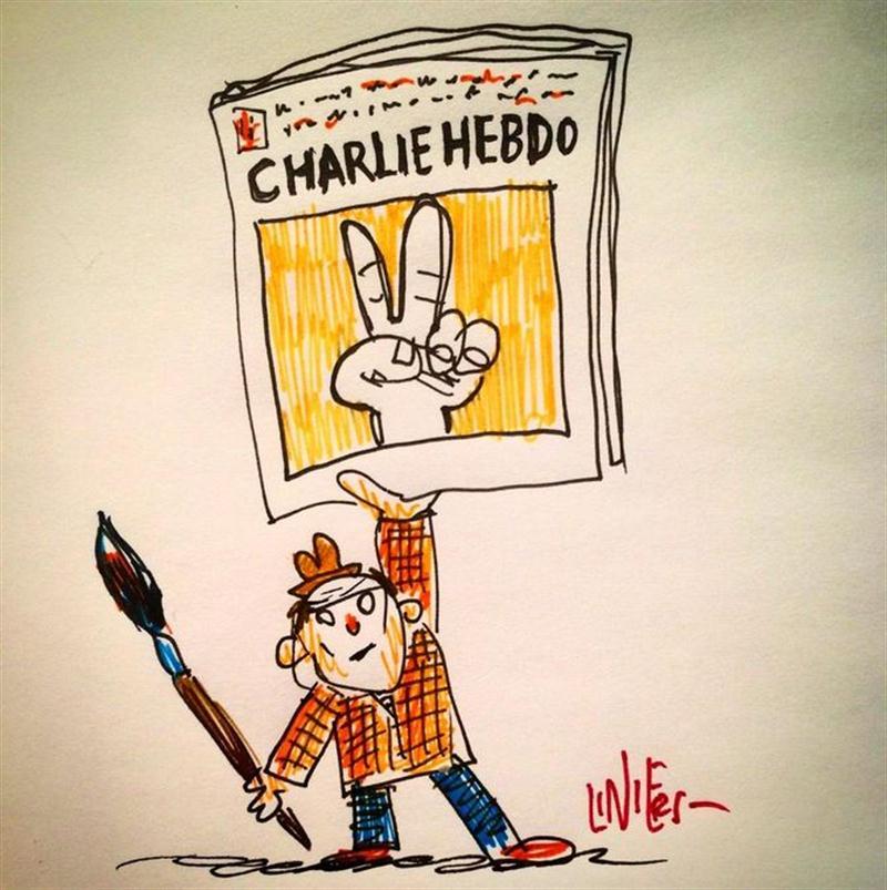 |@porliniers, Rep y el mundo de los dibujantes se solidarizan con #CharlieHebdo http://t.co/rsXhqSgPG9 http://t.co/e2vbhvrbFV