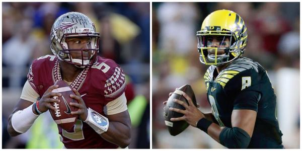 Jameis Winston threw for 25 TD, 18 Int and rushed for 3 TD this season. Marcus Mariota: 40 Pass TD, 3 Int, 15 Rush TD http://t.co/eW6yB6h4gV