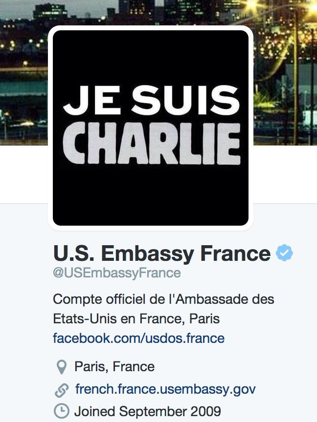 U.S. Embassy in France - @USEmbassyFrance - shows solidarity with #JeSuisCharlie http://t.co/ZeO75qvwTH