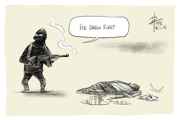 Powerful cartoon by @davpope on the #CharlieHebdo attacks http://t.co/9jhPyOCx55