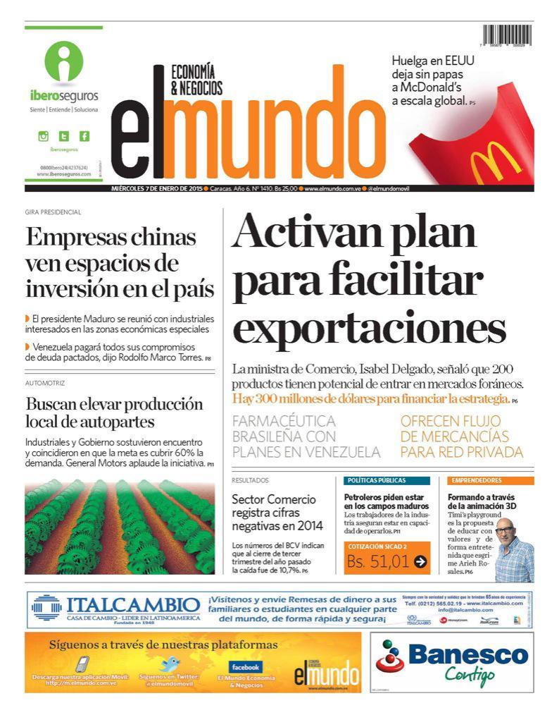 Portada De Hoy Del Diario El Mundo Economía Y Negocios Pedro Luis Flores Scoopnest