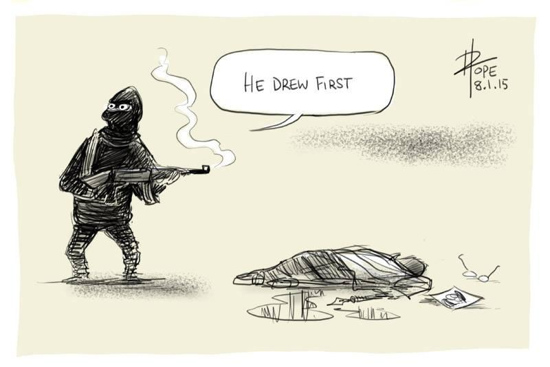 """He drew first"" powerful response to today's killings at #CharlieHebdo offices by Australian cartoonist David Pope http://t.co/6iJJ2s2xLv"