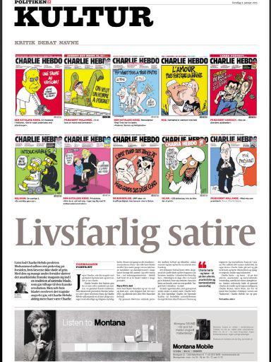 Her er @Politiken Kultur-forside torsdag m #CharlieHebdo forsider. http://t.co/0hmRhDqBOy