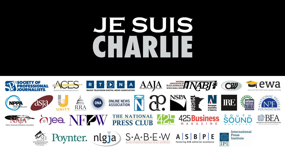 SPJ & 34 journalism orgs, representing more than 20,000 journalists, join together in support of #JeSuisCharlie http://t.co/C9cH6yt1li