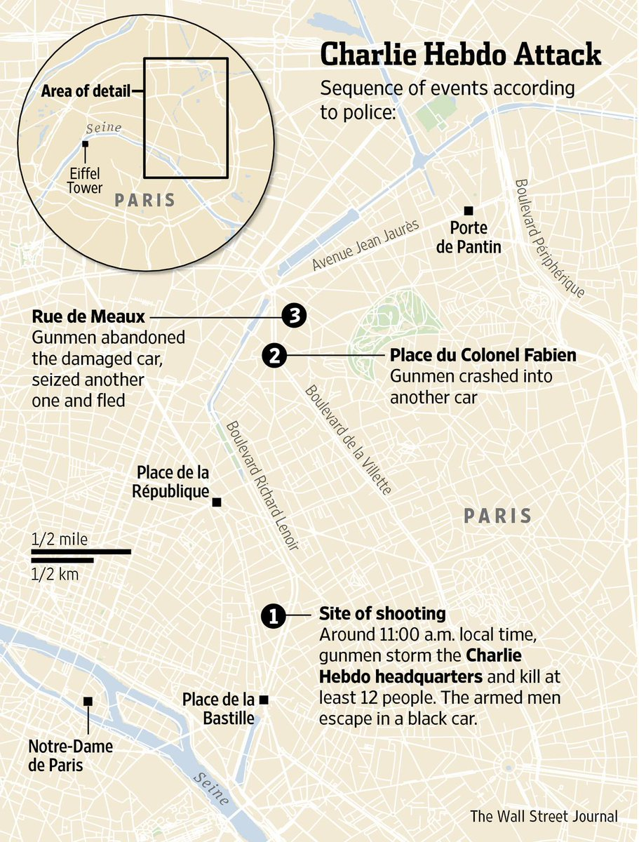 WSJ Graphics on Twitter Updated map of events Shooting at Paris