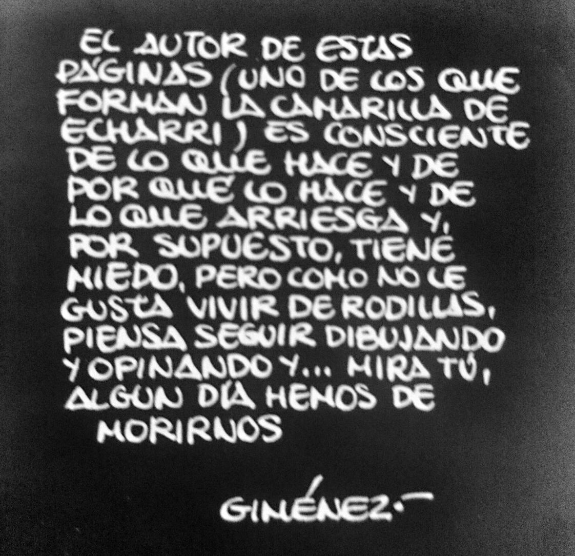 Esta cita me ronda todo el día. Carlos Giménez, tras el atentado con bomba a la revista satírica 'El Papus'. 1977. http://t.co/sSvM2g44AM