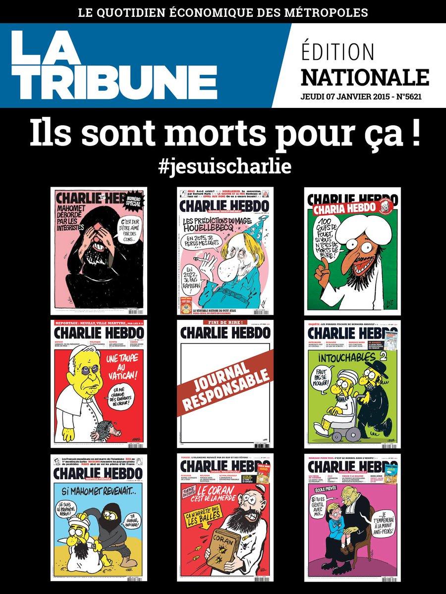 Ce soir, La Tribune rend hommage à la rédaction de #CharlieHebdo dans son édition numérique >> http://t.co/kN8KWXyL2g http://t.co/gXOuBYSGDY
