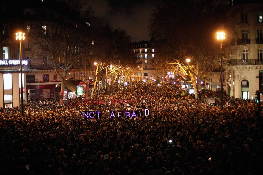 Powerful picture of the protests in Paris this evening: #NotAfraid #CharlieHebdo http://t.co/Tdhq7Tk2yV