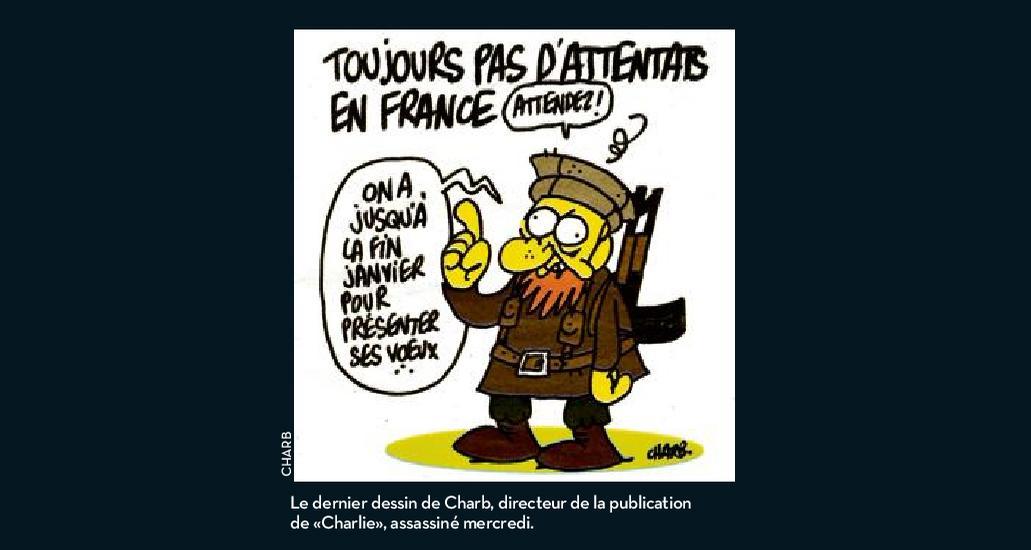 """""""Le dernier dessin de Charb sera publié demain dans tous les journaux"""" @dseux > http://t.co/6diYiuAkvm #CharlieHebdo http://t.co/adw3Sbsgqt"""
