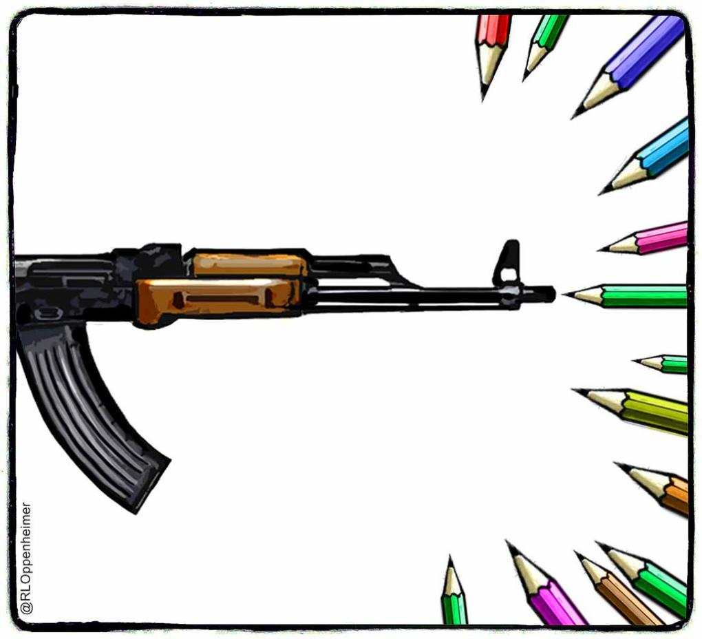 Powerful: Cartoonists draw in solidarity with #CharlieHebdo  http://t.co/h5mVfYJQpx #JeSuisCharlie #ParisShooting http://t.co/PMnT9wcdmJ