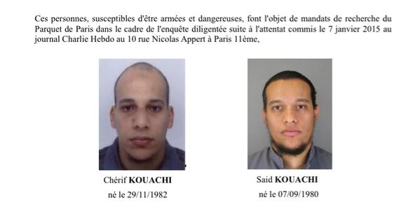 #CharlieHebdo appel à témoins police avec photos des deux frères recherchés #DNAinfos http://t.co/K5NLXjj0Hc http://t.co/YKWc4GoSjw