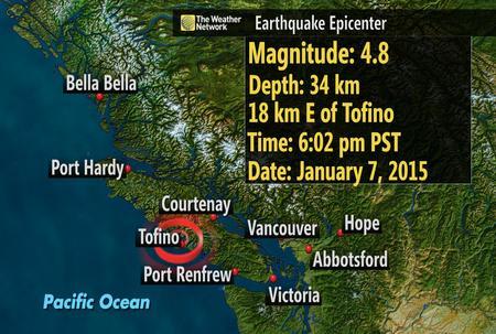 Terremoto in tempo reale in Canada