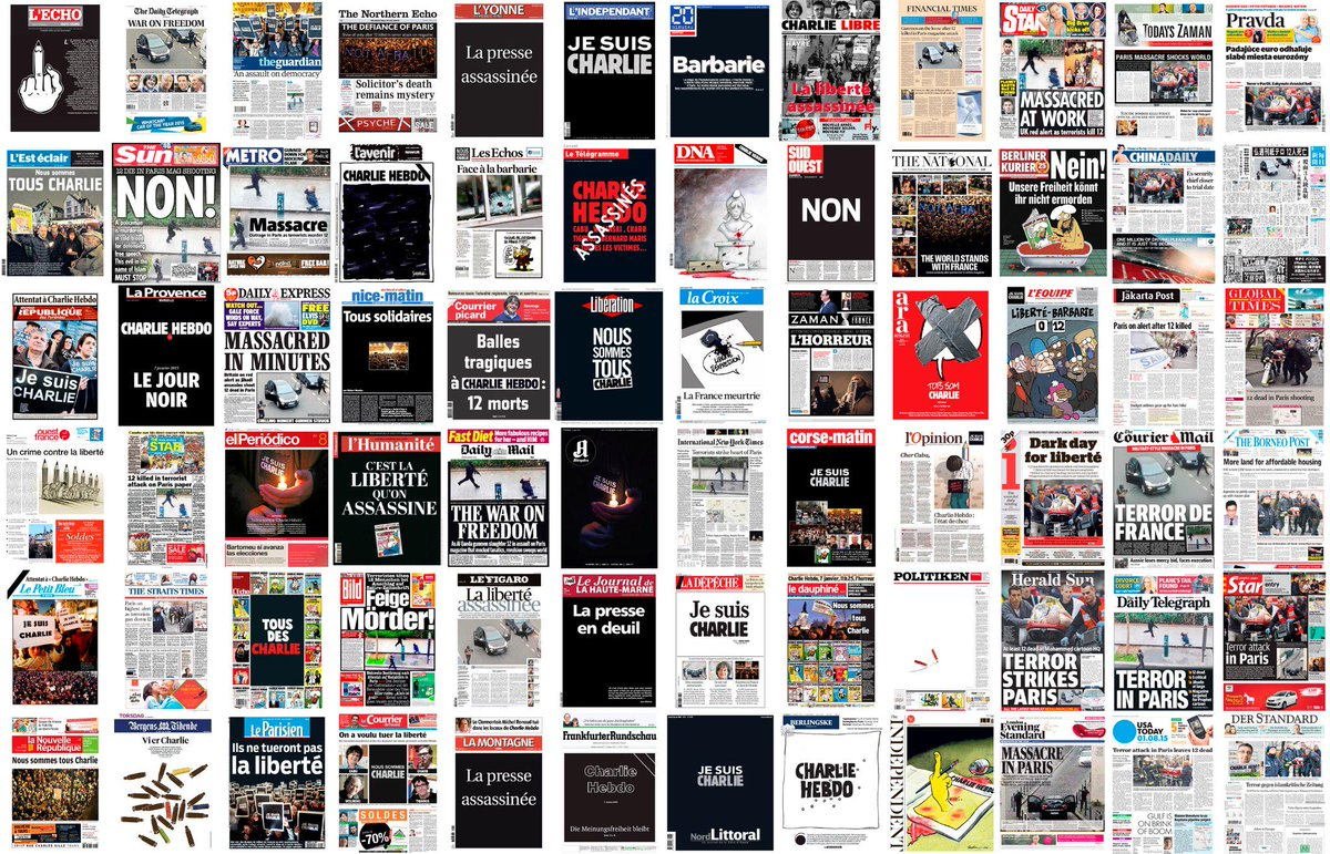 French and International newspaper frontpages #JeSuisCharlie  http://t.co/FFEJhtg2Uc