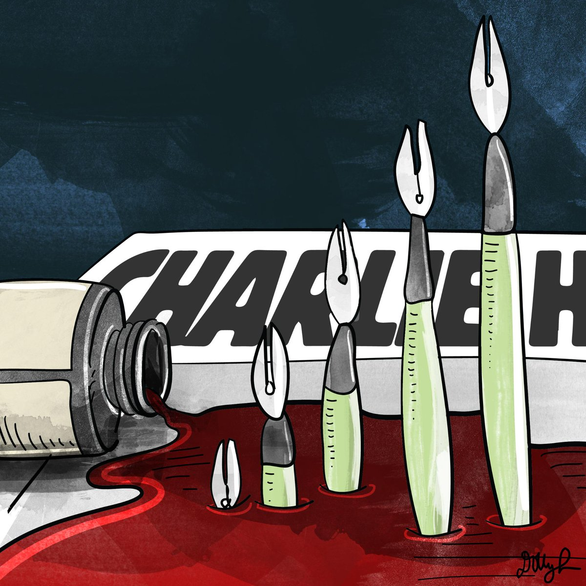 "AJ+ illustrator @dollyli reacts to the #CharlieHebdo massacre: ""We will rise and continue expressing."" #JeSuisCharlie http://t.co/ldpfPrIBNC"