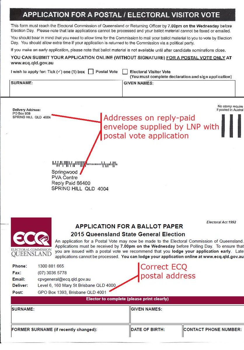 WARNING: LNP-supplied reply-paid envelopes for postal vote applications don't go 2 the Electoral Commission #QldVotes http://t.co/DbrHJGl6ZY