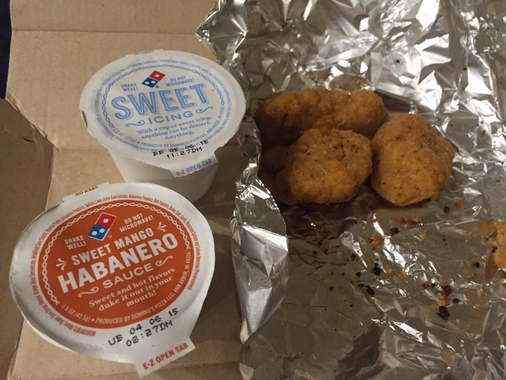 .@dominos as much as I love icing, maybe ranch would have been a better choice to accompany chicken. http://t.co/cwOb0ExAcu