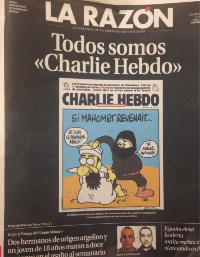 Mucho discurso grandilocuente, titular reivindicativo y página interior, pero solo @larazon_es se ha mojado #Charlie http://t.co/p2dWMI7ogr