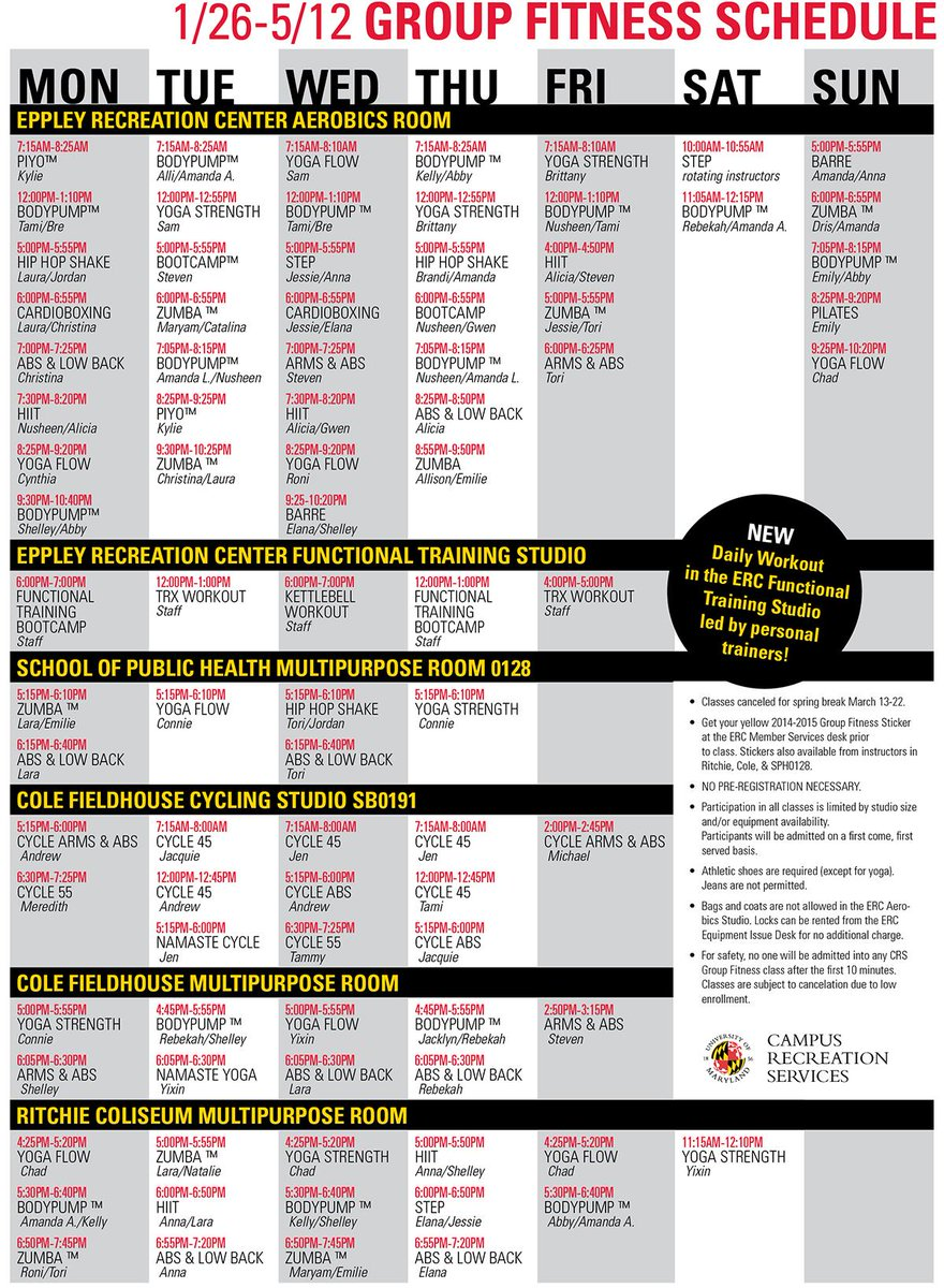 "umd recwell on twitter: ""the spring semester group fitness schedule"