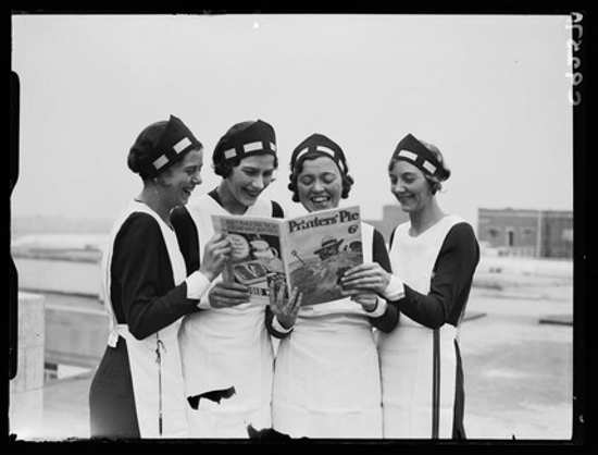 Four women reading a holiday annual magazine, taken by James Jarche for the Daily Herald newspaper on 12 July, 1934. http://t.co/woukxMRyyL