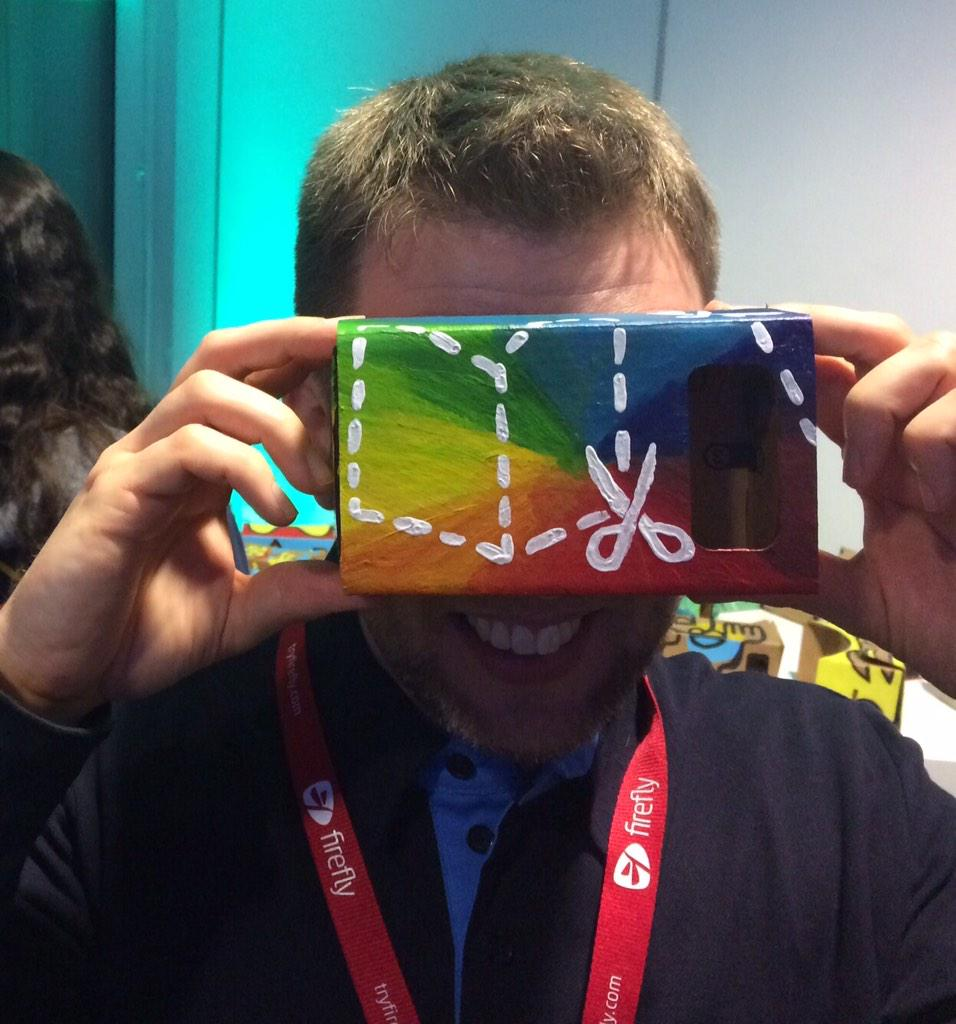 How cool is this?! Hand-crafted at the @GoogleForEdu Developer Mixer at the #Bett2015 show. #GoogleCardboard http://t.co/siXNQouAMM