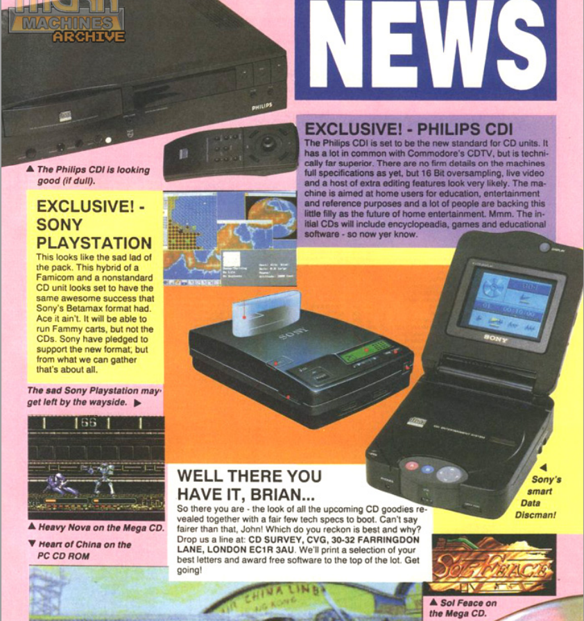 This old '92 CVG news story reacts to a very early PlayStation prototype. It's not quite the PSX we eventually got... http://t.co/sehbnPaiJf