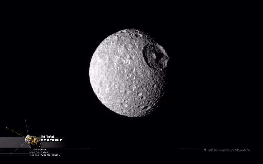 Allow me to introduce you to Mimas: moon of Saturn, which is basically the Death Star http://t.co/LI2Nfk3rJq http://t.co/SjxO7JqICd