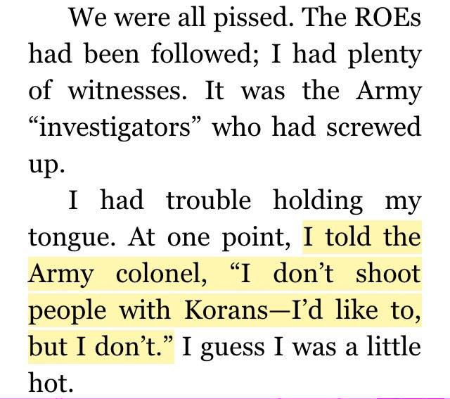 Wife of an Iraqi man killed by Chris Kyle said her husband was holding a Koran, not a gun. Here's how Kyle responded: http://t.co/WRvQLiY9TL