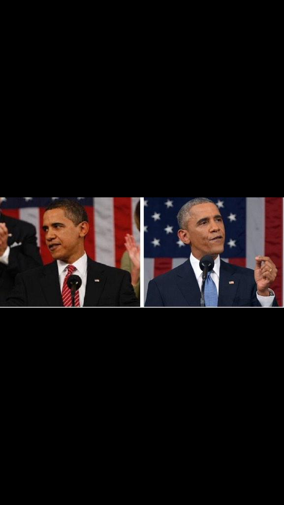 2009 Obama vs. 2015 Obama, leadership is pretty stressful. #Aged20Years #SOTU http://t.co/SzAojI4gEw