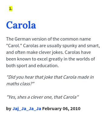 Carol urban dictionary