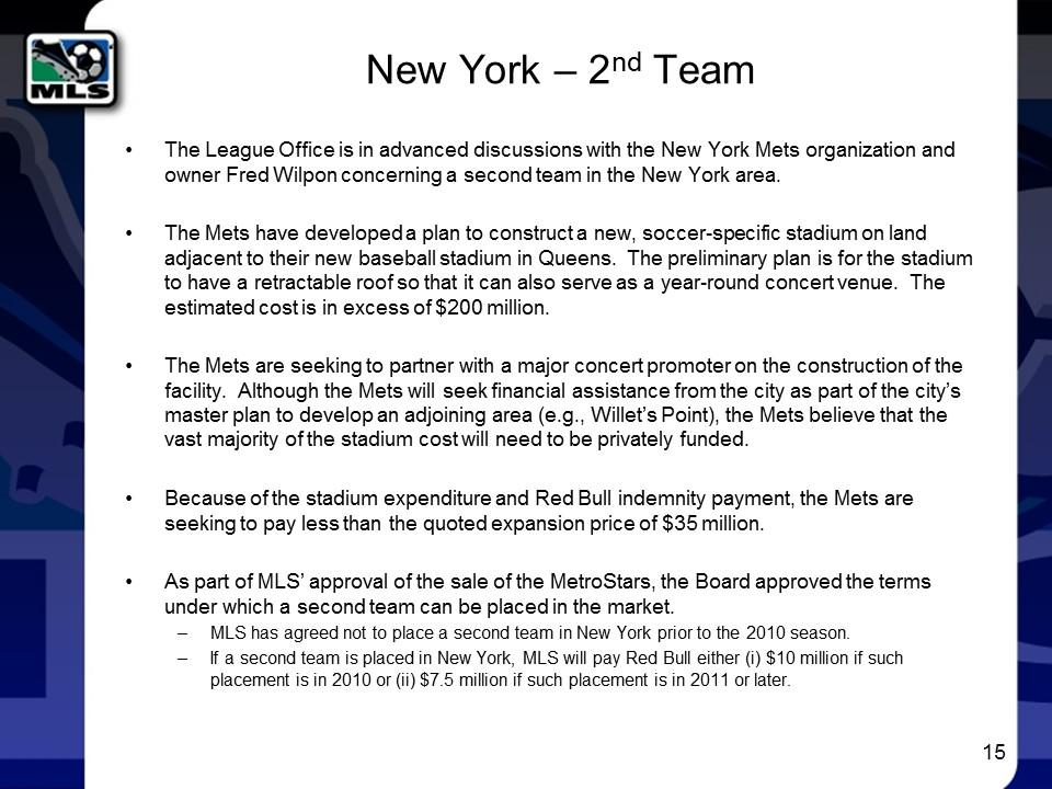 For putting a second team in NYC, MLS agreed to pay the Red Bulls $7.5 million, wonder if that is cash or allocation http://t.co/ZtLQkyByB0