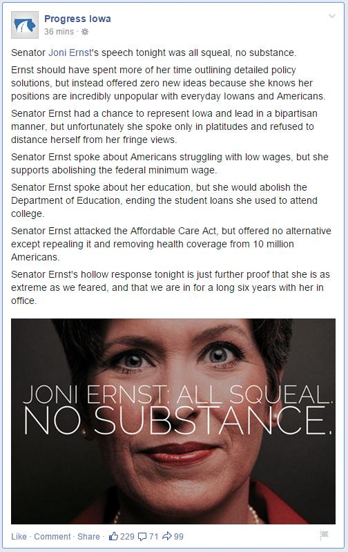Joni Ernst: All squeal, no substance. http://t.co/oU7dBCf2xj http://t.co/CiCUyJvYm1