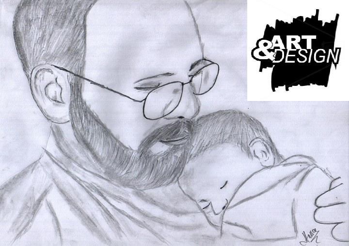 Pencil sketches of fathers love
