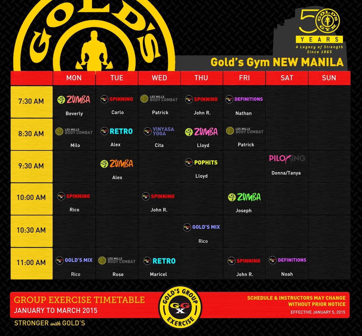 """goldsgymphilippines on twitter: """"gold's gym new manila ggx schedule"""
