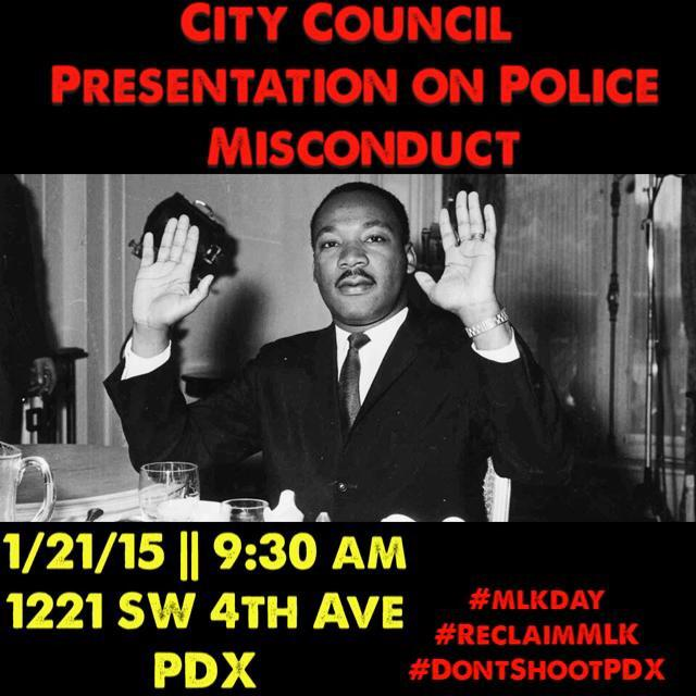 Join us at City Council for a presentation on Police Misconduct #WhatWouldKingDo #ReclaimMLK #BlackLivesMatter
