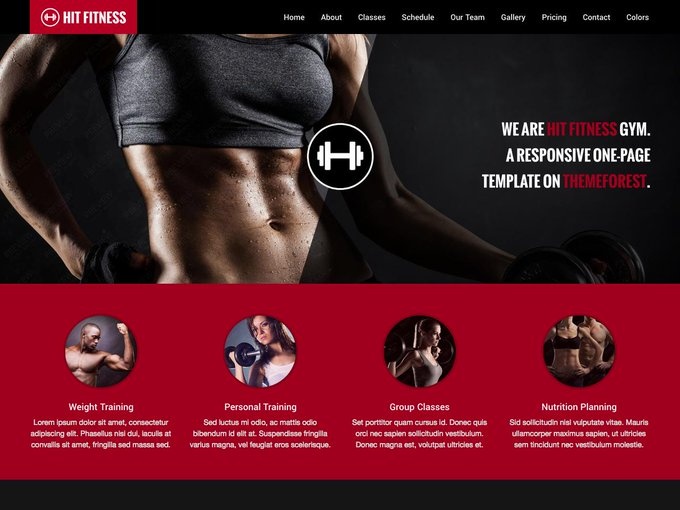 Hit Fitness One Page Theme