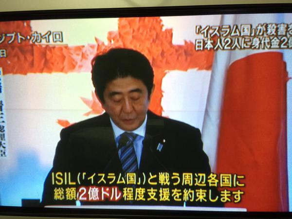 日本人が人質になっている事を知っていて国内の経済危機も知っていて、わざわざ中東に出かけイスラエルとは軍事協力を、テロ対策には2億ドルを出すと言いに行くというのは普通の国の大統領ならあり得ない。戦争をする為にやったとしか考えられない。 http://t.co/7M86WYUrTg