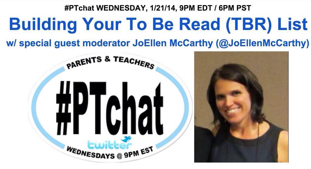"TONIGHT on #PTchat @ 9pm ET ""Building Your To Be Read List"" w/ @JoEllenMcCarthy http://t.co/JrKcPgEHns #edchat #fetc #fetc15 #parenting #edu"