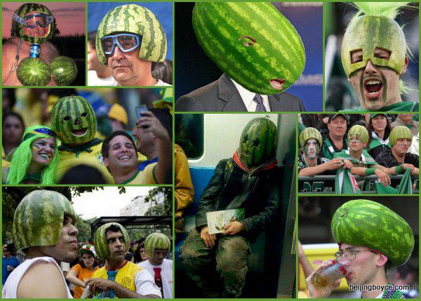 Men wearing watermelons collage, inspired by watermelon-wearing Beijing subway rider. @tepingchen #RealMenLikeMelons http://t.co/dS5n0JeRkg