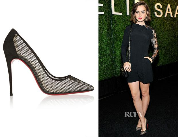 bc73c938ec3 lily colllins christian louboutin follies resille 100 suede trimmed mesh  pumps