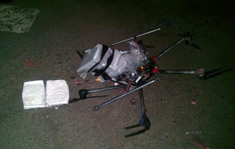 Drone crashed near Tijuana near border w/US.  Idiots strapped too many bags of meth onto it (6 lbs). http://t.co/HeBr3TVBNp