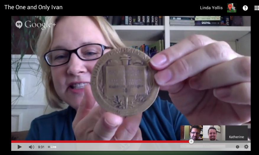 Katherine Applegate, winner of the 2013 Newbery Award, shares the medal.  @kaaauthor @BedleyBros   #caedchat http://t.co/VyBVjZPAro