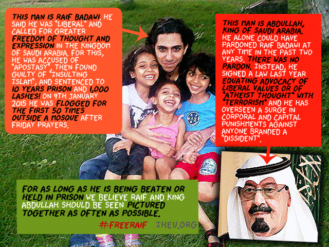 King Abdullah of Saudi Arabia: Advocacy of liberal values = terrorism. So, he's torturing bloggers. #FreeRaif http://t.co/4PEatHNFRu