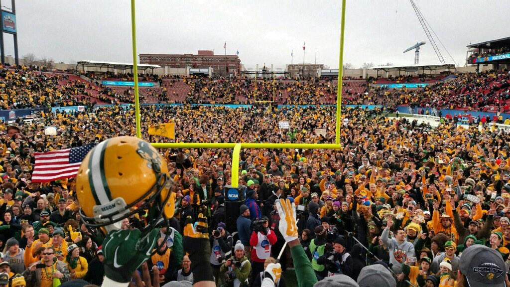 Awesome scene from our vantage point on @NCAA_FCS Championship Trophy stage. @NDSUfootball @NDSUathletics #FCSChamp http://t.co/lY6ywzl4g1
