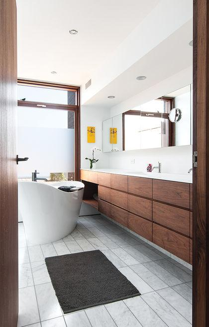 Dwell On Twitter A Renovated Toronto Tudor Shows Off A Material Rich Bathroom Http T Co Xfxuwkrprp Http T Co Sbcha3qsei