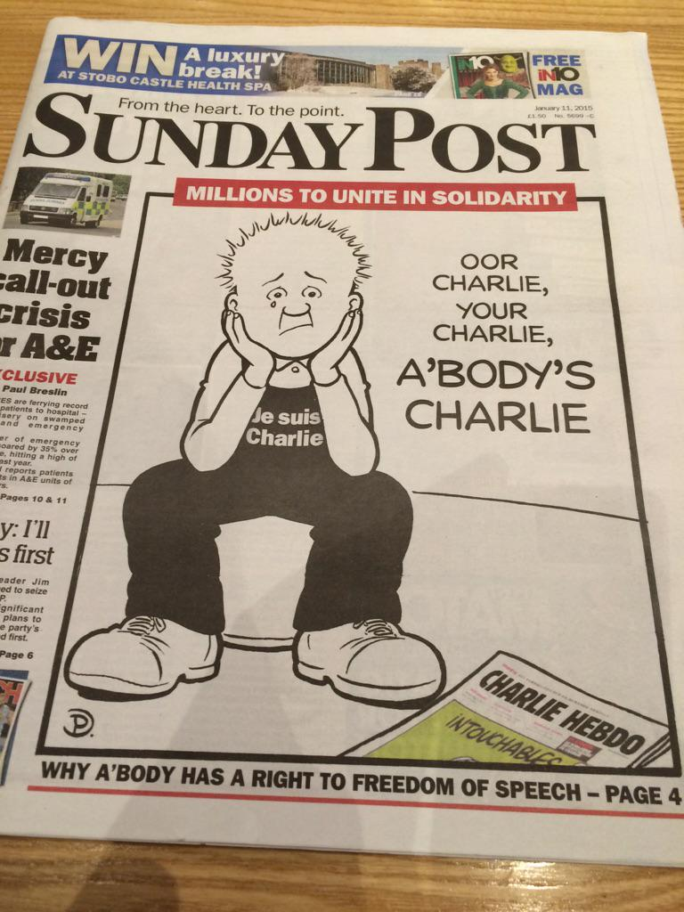 Front of today's Sunday Post. Oor Wullie becomes Oor Charlie for a day. http://t.co/XvWmTmcQOK