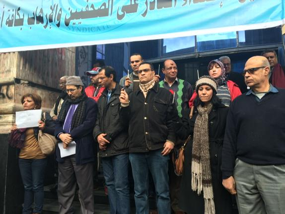Manif des journalistes au Caire solidarité #CharlieHebdo / Protest of journalists in Cairo @France24_en @France24_fr http://t.co/UE6CEq5zRO